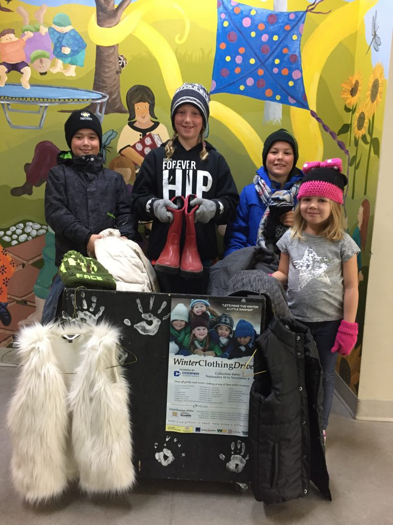 Images of students wearing winter clothing