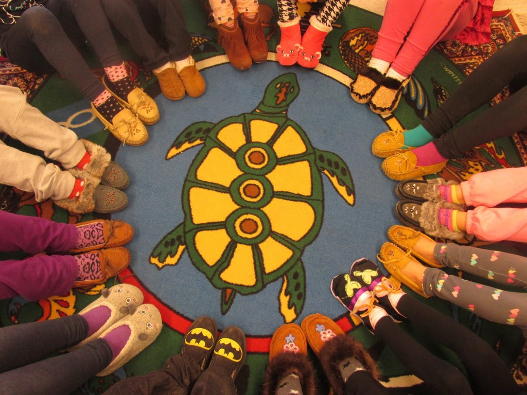 Students wearing Moccasins