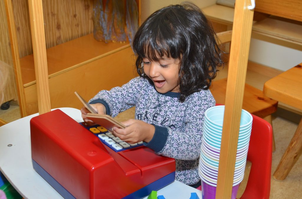 Kindergarten student Noura Seher Patwary of MacLeod Public School practises counting.